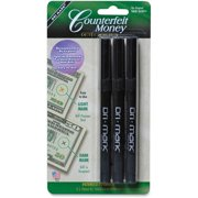 Dri Mark, DRI3513B, Counterfeit Detector Pens, 3 / Pack, Black
