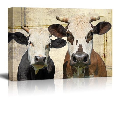 Cow Decor - wall26 Canvas Print Wall Art - Two Milk Cows on Rustic Abstract Background - Gallery Wrap Modern Home Decor | Ready to Hang - 24x36 inches