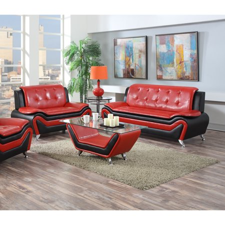 US Pride Furniture Wanda Modern Contemporary Bonded Leather 2-Pc Two Tone Sofa and Loveseat Set, Red/Black, S5066-2PC