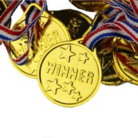 100 Children Gold Winners Medals Kids Party Bag Fillers Game Toys Prizes Awards