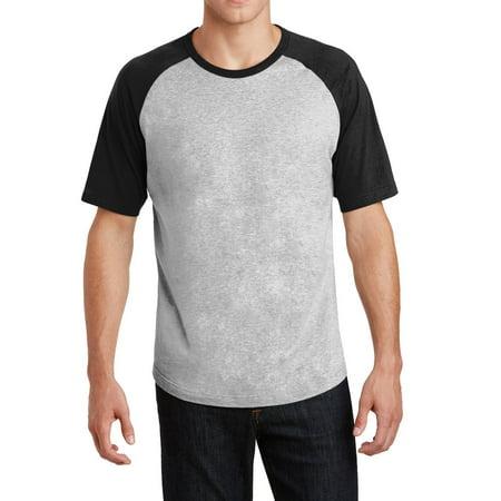 Heather Gray Jersey (Men's Short Sleeve Colorblock Raglan Baseball Soft Jersey Heather Grey/ Black XS)