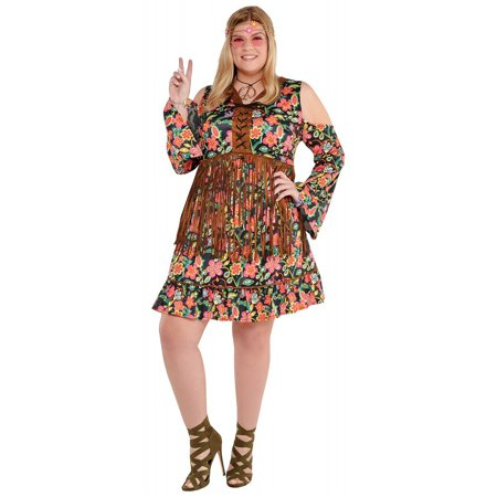 Flower Power Hippie Adult Costume - Plus Size (Flower Power 60's Hippie Costume)