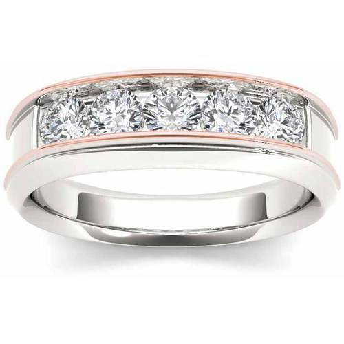 Imperial 1 Carat T.W. Diamond Pink Two-Tone Men's 14kt White Gold Ring