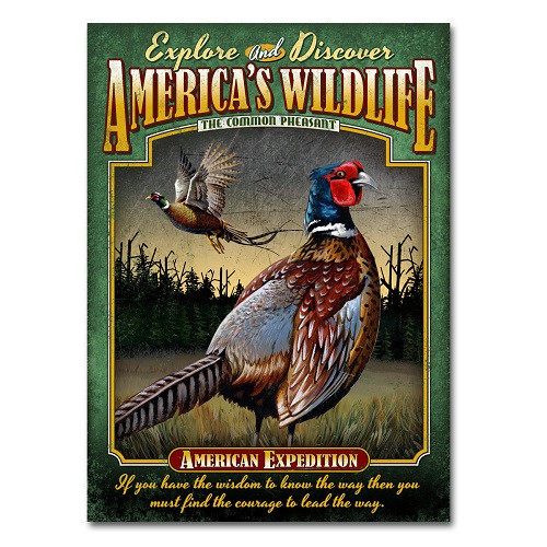American Expedition Pheasant Tin Sign Magnet Painting Print