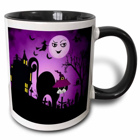 3dRose Black Cat in a Witches Hat a Laughing Moon Purple and Black Halloween - Two Tone Black Mug, 11-ounce