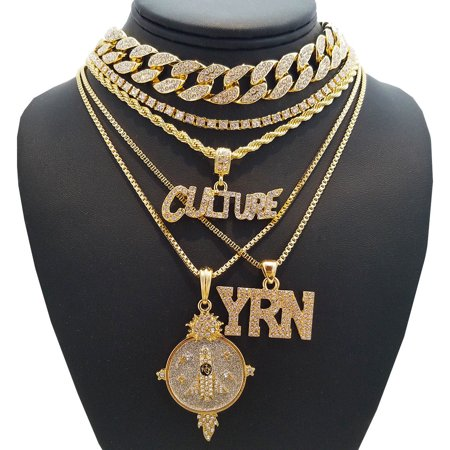 Set Tennis Necklace - Migos Iced out CULTURE, YRN, SPACESHIP Cuban & 1 Row Tennis Chain Necklace set