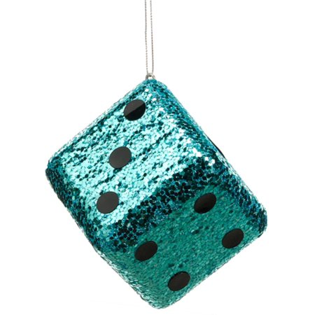 4 Casino Royale Shiny Turquoise Blue Glitter Gambling Dice Christmas Ornament