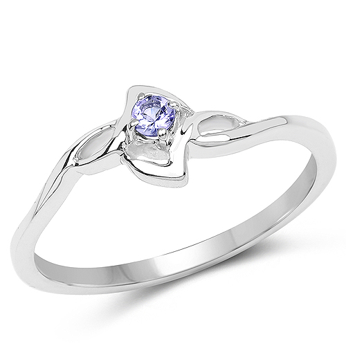 0.07 ct. Genuine Tanzanite Sterling Silver Ring by DAZYLE