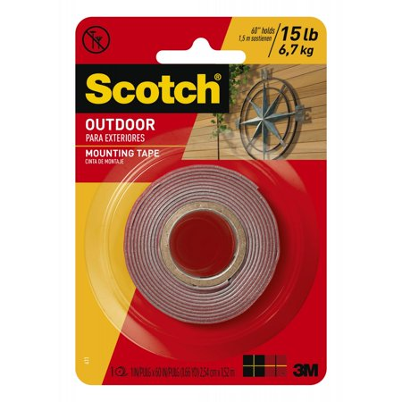 Scotch Mounting Tape - Scotch Outdoor Mounting Tape, 1 in. x 60 in., Gray, 1 Roll/Pack