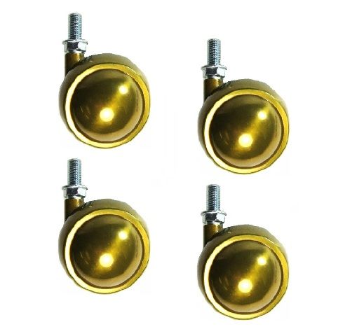 """Set of 4 Swivel Brass Planet Ball Caster 2-1/2"""" with 3/8"""" - 16 x 3/4"""" Threaded S"""