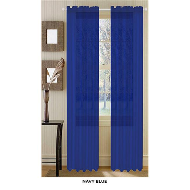 J&V Textiles Anna Navy Blue, Solid Sheer Voile Curtain Panels