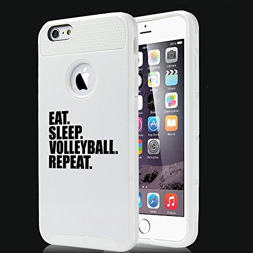 For Apple iPhone 5 5s Shockproof Impact Hard Soft Case Cover Eat Sleep Volleyball Repeat (White)