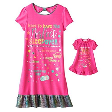 Girls Sleepover Set - Bow-Back Nightgown & Doll Dress Set - Girls (S 7/8, PINK SLEEPOVER)