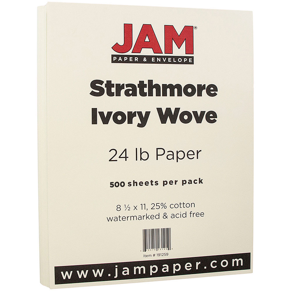 JAM Paper Strathmore Paper, 8.5 x 11, 24 lb Strathmore Ivory Wove, 500 Sheets/Ream