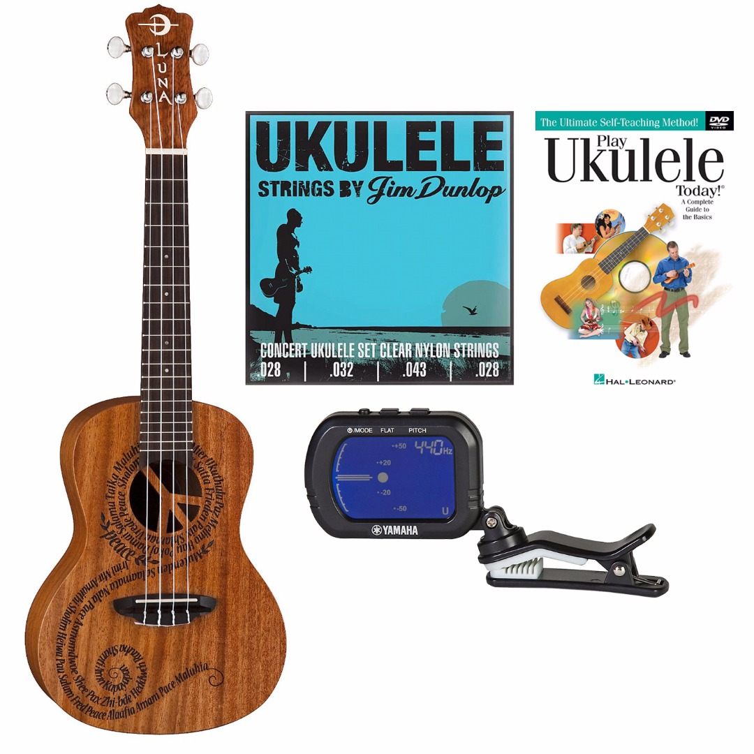 Luna Guitars MALU Peace Concert Ukulele with Chormatic Tuner & Strings & Beginne