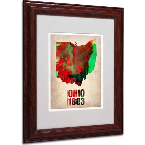 "Trademark Fine Art ""Ohio Watercolor Map"" Matted Framed Art by Naxart, Wood Frame"