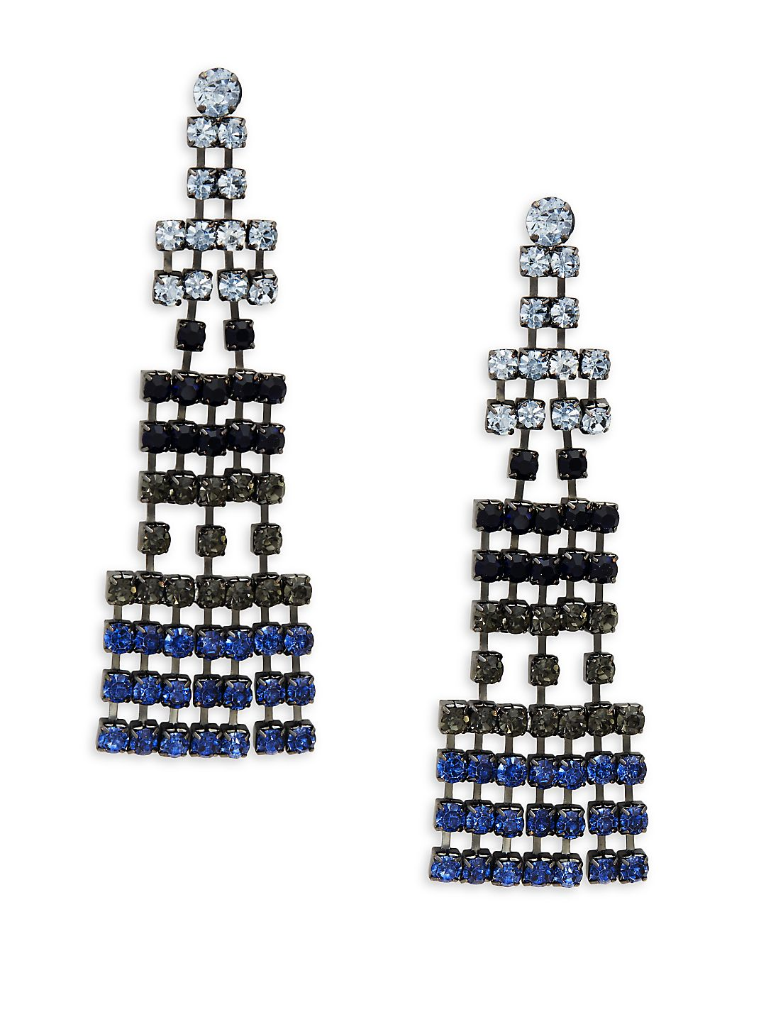 Silvertone Geometric Chandelier Earrings
