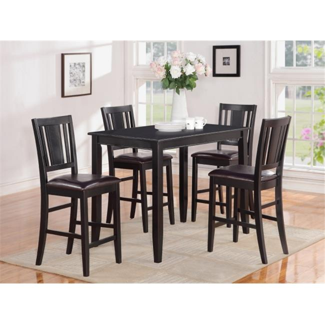 Wooden Imports Furniture BU5-BLK-LC 5 PC Buckland Counter Height Table 30 in. x 48 in. & 4 Stools with Faux Leather seat in Black Finish