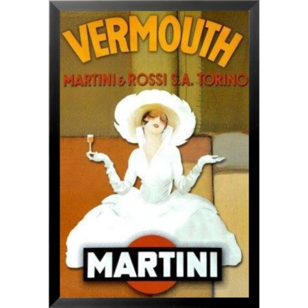 FRAMED Abstract Martini Rossi Vermouth 36x24 Art Print Poster Wall Decor Contemporary Drinking Advertising
