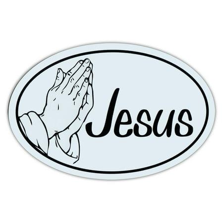 Church Magnet (Oval Shaped Car/Refrigerator Magnet - Jesus (Black/White Design, Praying Hands) - Religious, Christianity, Church, God)