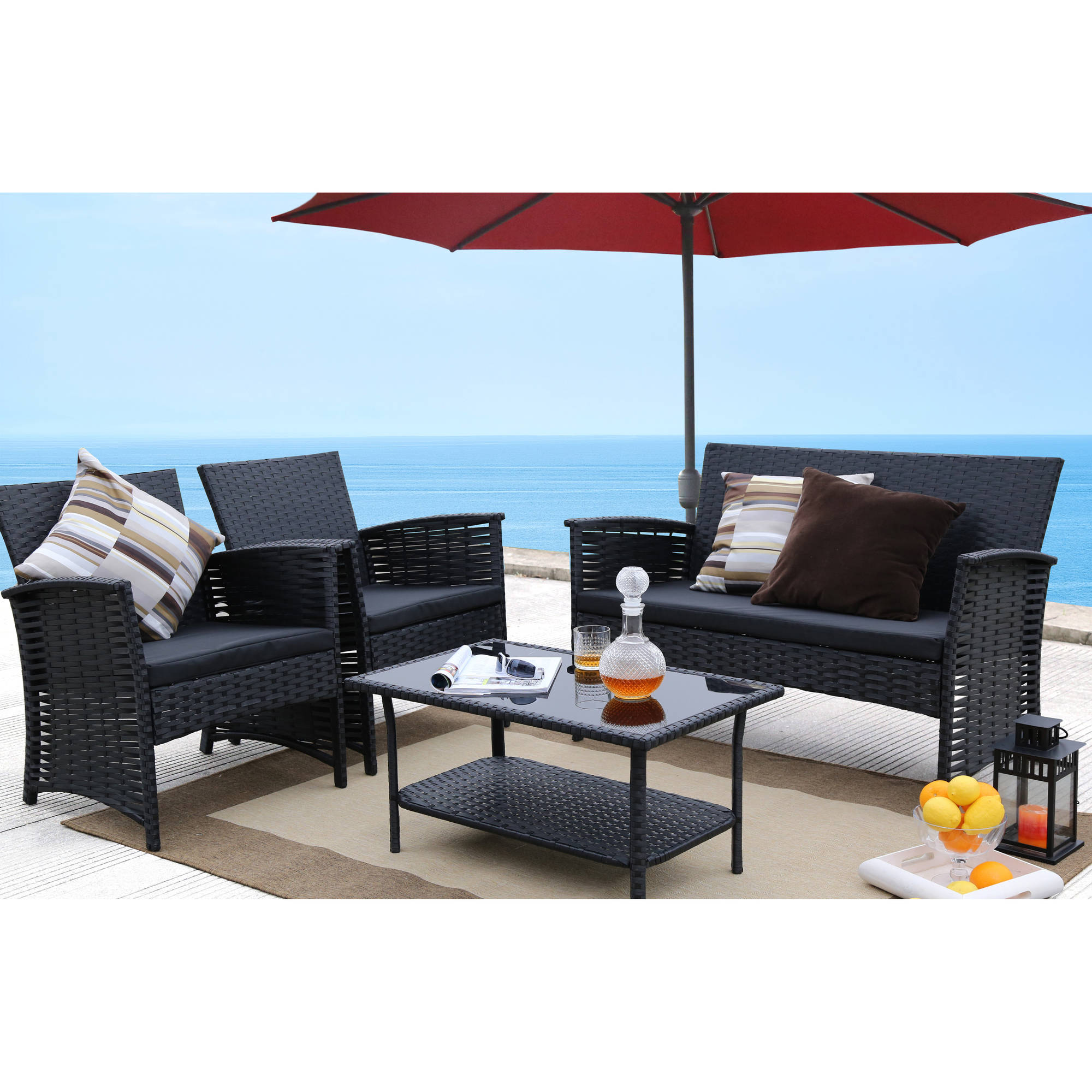Baner Garden 4-Piece Outdoor Furniture Complete Set, Black by Caesar Hardware