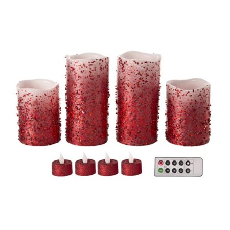Glitter Led - Red Glitter LED Candle Set: 9 pack