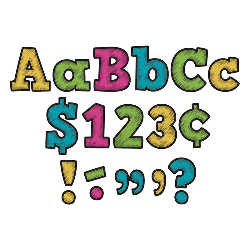 CHALKBOARD BRIGHTS BOLD BLOCK 4IN LETTERS COMBO PACK