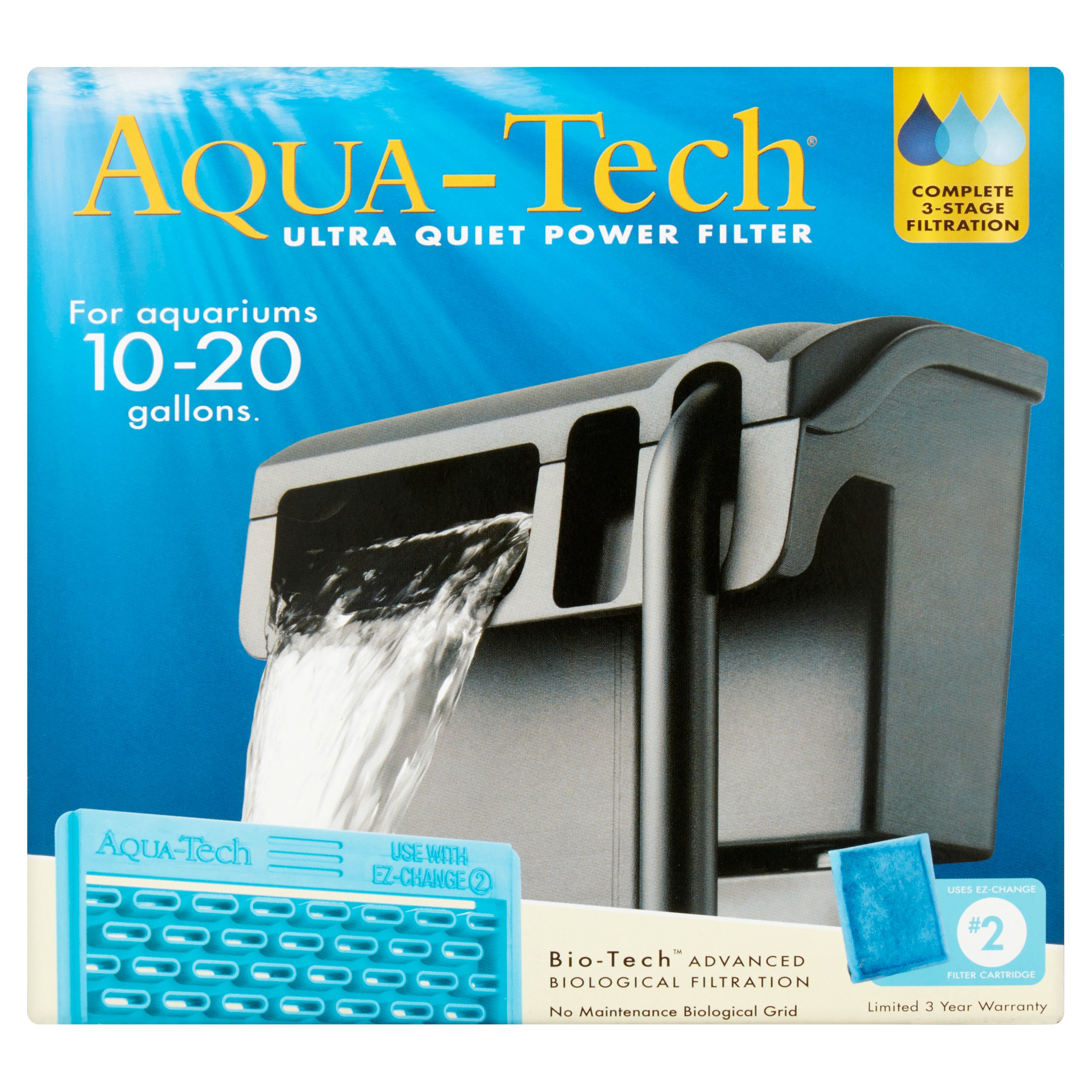 Aqua-Tech Ultra Quiet Power Filter for 10-20 Gallons