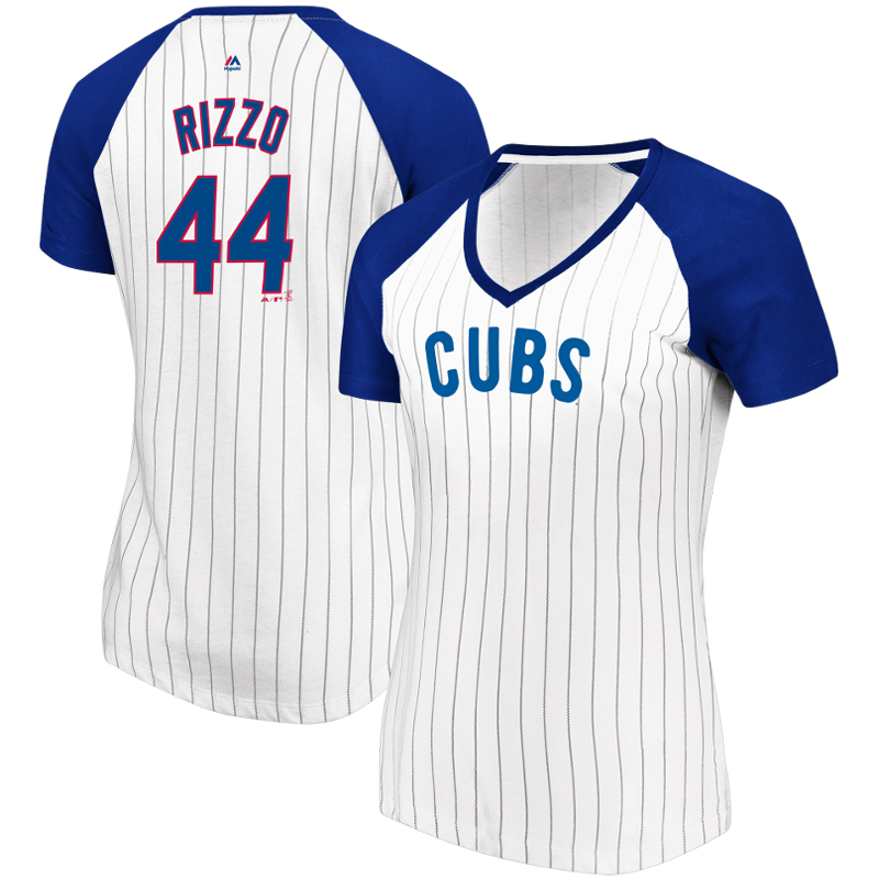 Anthony Rizzo Chicago Cubs Majestic Women's Every Aspect Pinstripe Name & Number V-Neck T-Shirt - White/Royal