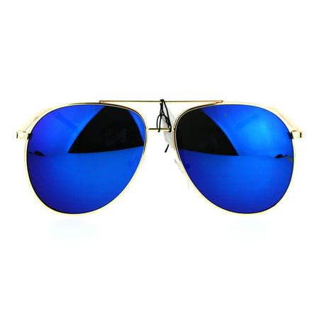 Mens Retro Mirror Lens Large Metal Rim Aviator Sunglasses (Mens Blue Aviator Sunglasses)