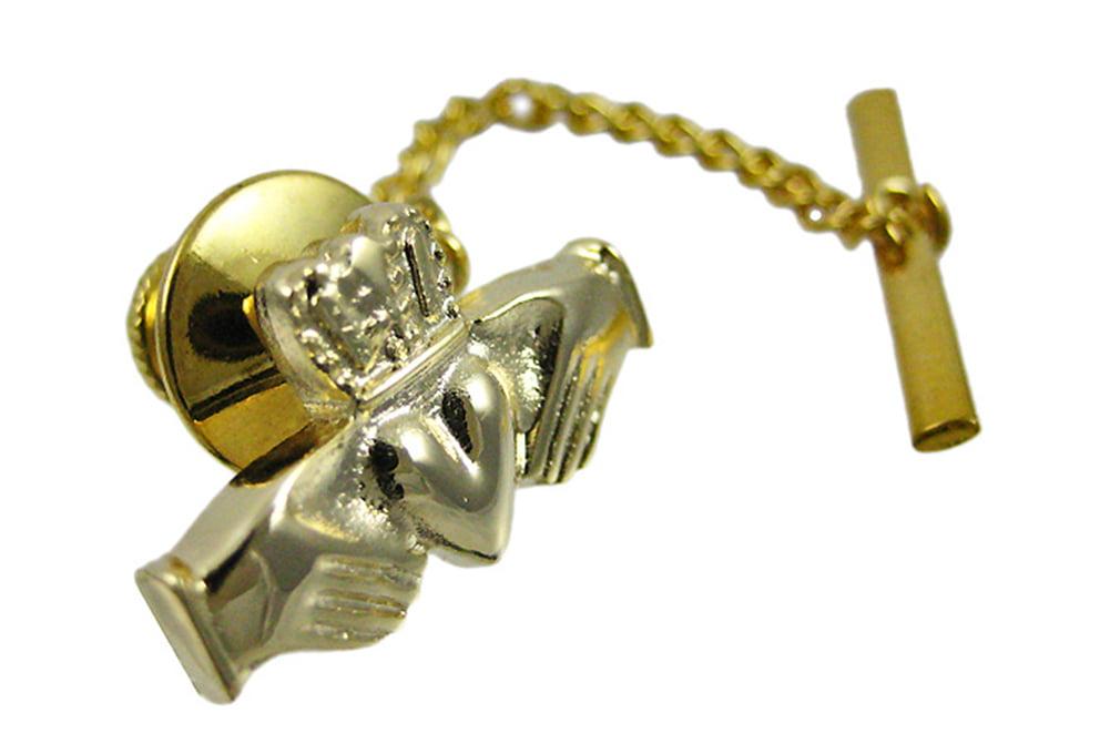 Beautiful Gold Plated Claddagh Tie Tack Pin Irish by New England Fashion, Inc.