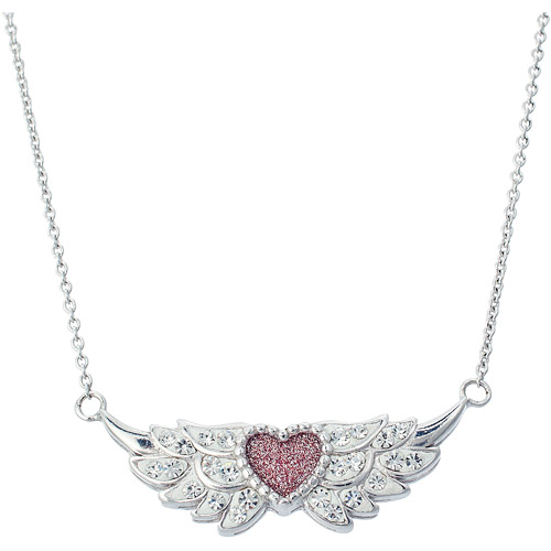 Women's Crystal Sterling Silver Wings with Glitter Heart Pendant, 18""