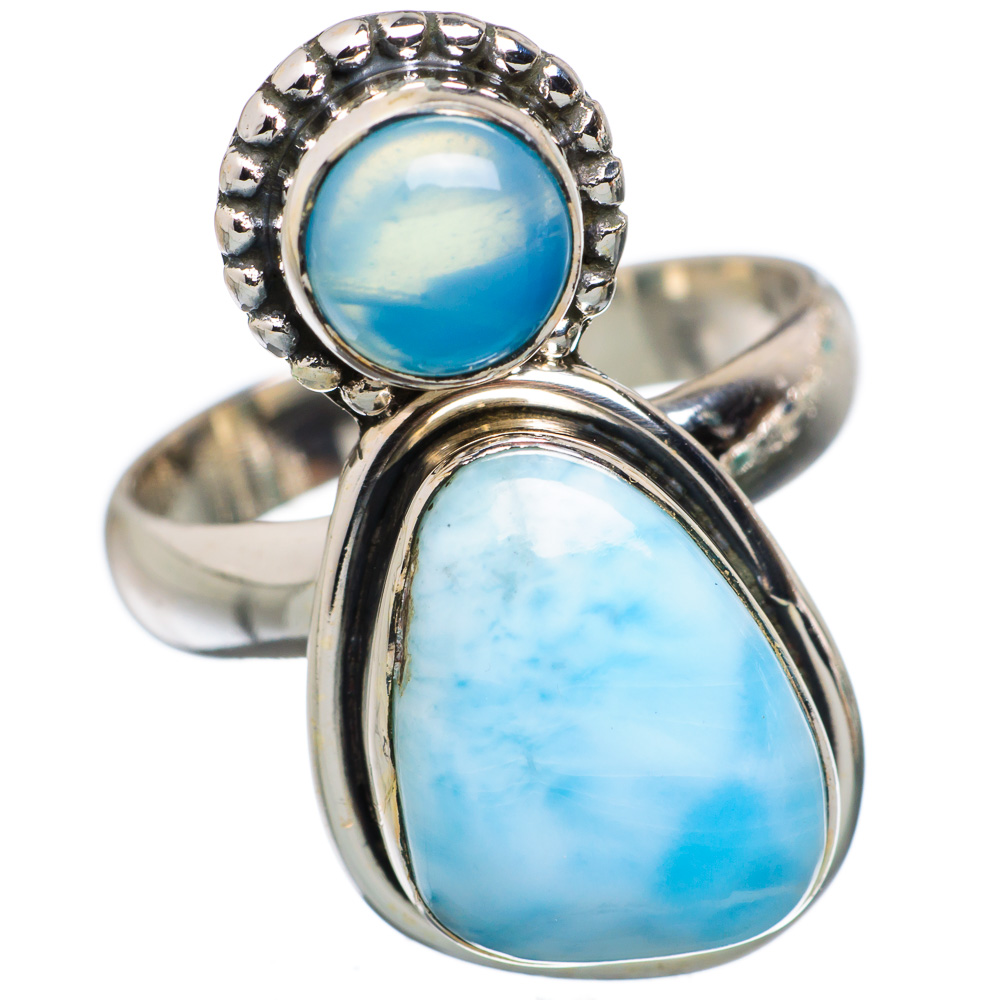 Ana Silver Co Rare Larimar, Chalcedony 925 Sterling Silver Ring Size 7.25 Handmade Jewelry RING845486 by Ana Silver Co.