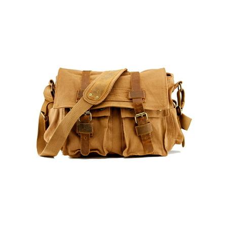 cc04d9970 Men's Vintage Canvas and Leather Satchel School Military Shoulder Bag  Messenger - Brown - Walmart.com