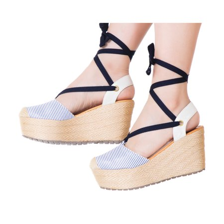 Open Lace Up Platform (VIDALeather Women Lace Up High Rise Platform Espadrilles | Calzado para Dama )
