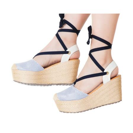 VIDALeather Women Lace Up High Rise Platform Espadrilles | Calzado para Dama