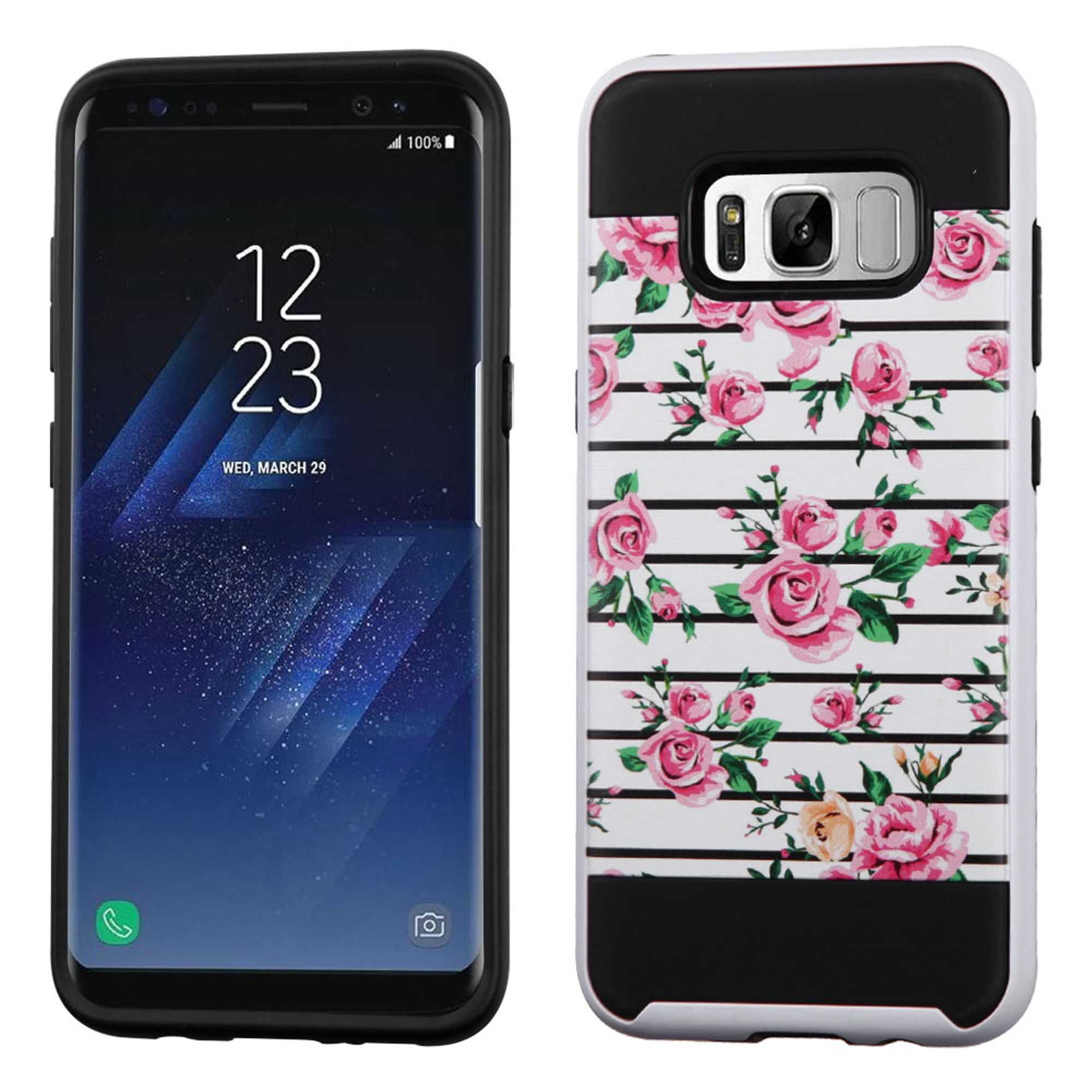 Samsung Galaxy S8 Case, by Insten Brushed Dual Layer Hybrid Hard PC/TPU Rubber Case Phone Cover For Samsung Galaxy S8 - Pink Fresh Roses/Black