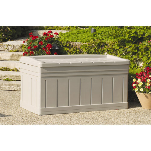 Suncast 129 Gallon Light Taupe Resin Storage Seat Deck Box DB9750
