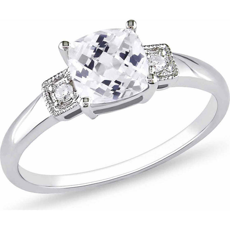 Miabella 1-1/4 Carat T.G.W. Cushion-Cut Created White Sapphire and Diamond-Accent 10kt White Gold Engagement Ring