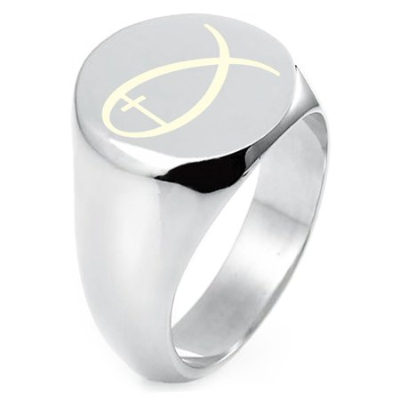 Sterling Silver Fish With Jesus Ichthus Cross Engraved Round Flat Top Polished Ring ()