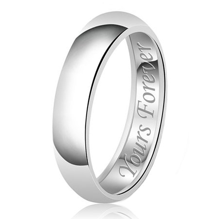 6mm Yours Forever Engraved Classic Sterling Silver Plain Wedding Band Ring