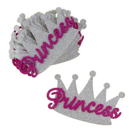 Foam Glitter Princess Crown Cutouts, Silver/Fuchsia, 5-Inch, - Princess Foam