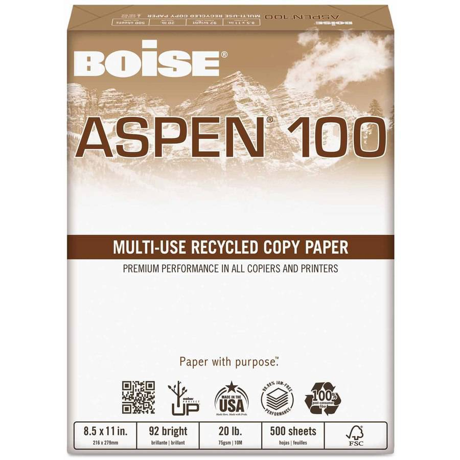 Boise ASPEN 100% Recycled Multi-Use Paper, 92 Bright, 20-Pound, Legal, White, 5000