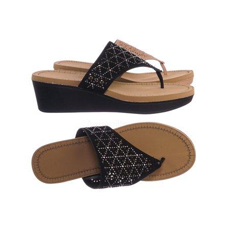 Makeup01 by Bamboo, Eva Platform Wedge Flip Flop - Rhinestone Crystal Slide Slipper Sandal