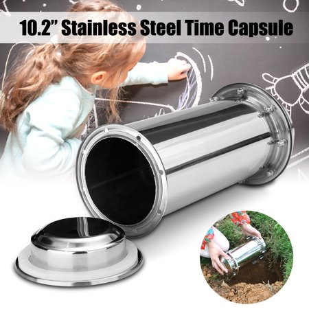 Steel Bin Storage (10.2 Inch Waterproof Stainless Steel Time Capsule Storage Box Lock Container For Future Gift )