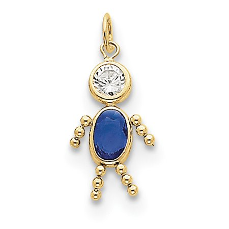 10k Yellow Gold September Boy Birthstone Charm