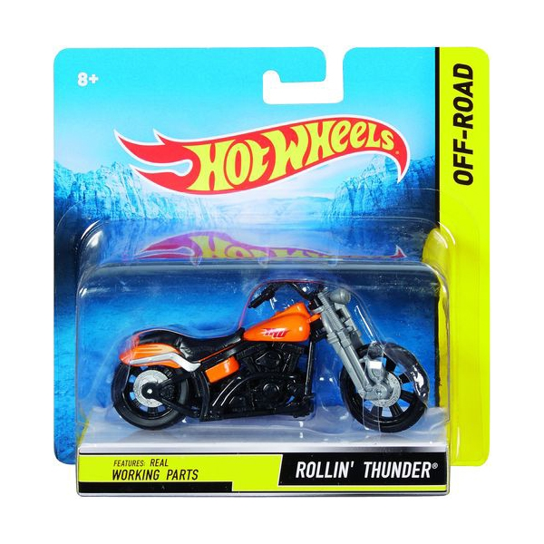 Hot Wheels 1:18 Scale Steer Power Motorcycle, Rollin' Thunder by Mattel