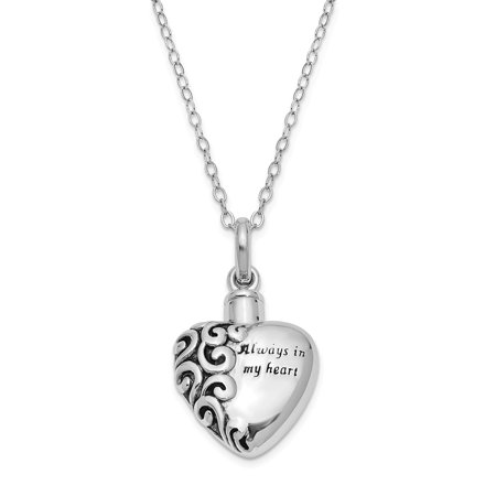 925 Sterling Silver Vintage Antiqued Heart Remembrance Ash Holder 18in Pendant Necklace Charm Chain 18