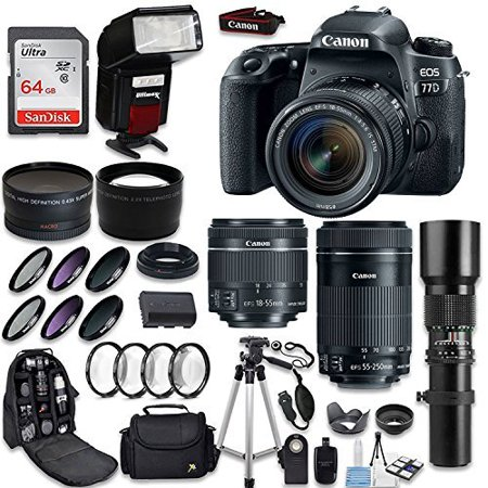 Canon EOS 77D DSLR Camera + Canon 18-55mm IS STM Lens + Canon EF-S 55-250mm Lens & 500mm f/8.0 Lens + 0.43 WideAngle Lens + 2.2 Telephoto Lens + Macro Close-ups + Accessories (Holiday Special (Best 500mm Lens For Canon)