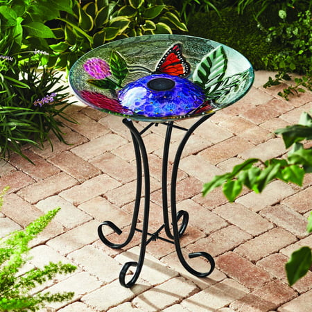 Birdbath 3 Piece (Better Homes & Gardens Outdoor 18 in. Solar Butterfly Hydrangea Bird)
